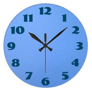 El azul numera el fondo azul reloj redondo grande