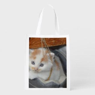 El azul observó, Brown y gatito remendado blanco Bolsas Para La Compra