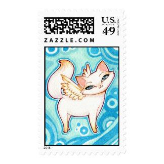 El azul observó el gato blanco del ángel, arte de sello