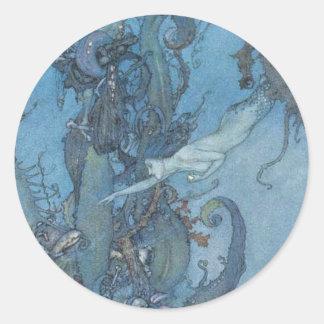 El azul profundo soña al pegatina de la sirena del