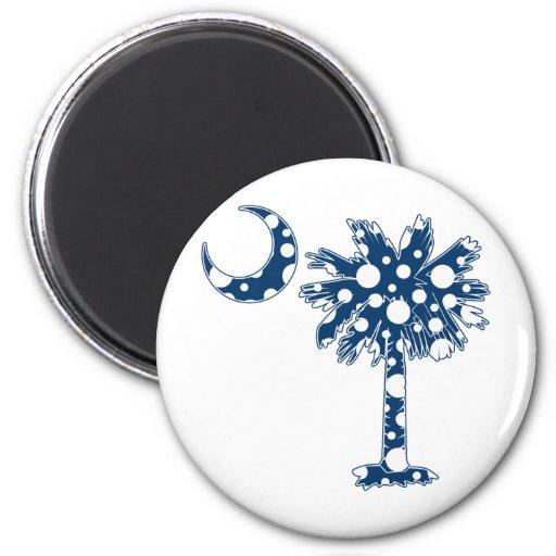 El azul puntea el Palmetto Imán Redondo 5 Cm