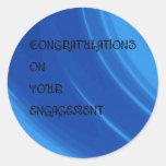 El azul real agita el compromiso pegatina redonda