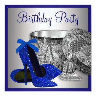 El azul real de la mujer y fiesta de cumpleaños de comunicados personalizados
