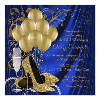El azul real de la mujer y fiesta de cumpleaños invitación 13,3 cm x 13,3cm
