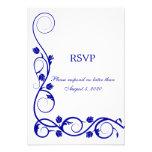 El azul real elegante remolina RSVP/tarjeta de con Comunicados Personalizados