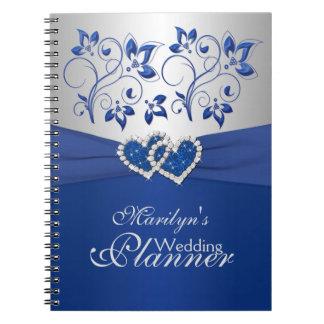 El azul real platea el cuaderno floral unido de l