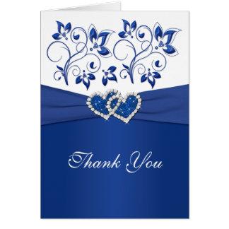 El azul real y los corazones unidos blanco le agra tarjeta de felicitación