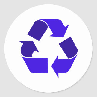 el azul recicla pegatina redonda