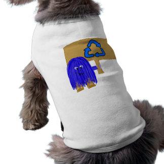 El azul recicla playera sin mangas para perro