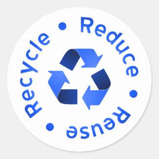 El azul reduce la reutilización recicla al pegatina redonda