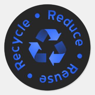 El azul reduce, reutiliza, recicla al pegatina