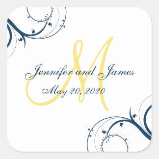 El azul remolina boda amarillo del monograma pegatina cuadrada