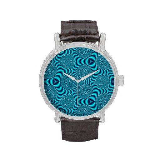 El azul remolina caleidoscopio relojes de pulsera