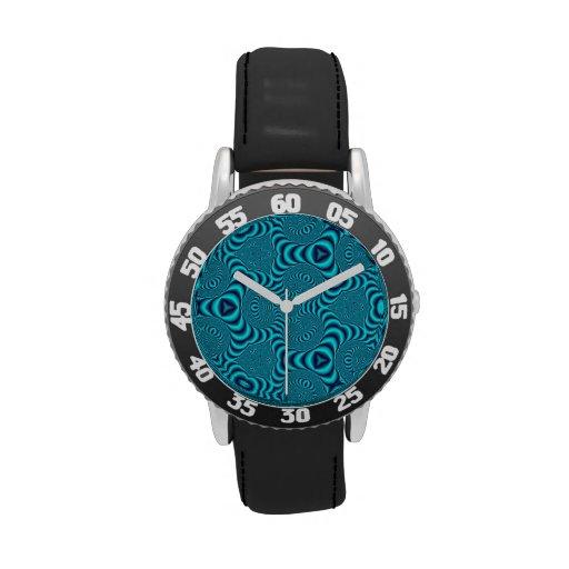 El azul remolina caleidoscopio relojes de mano