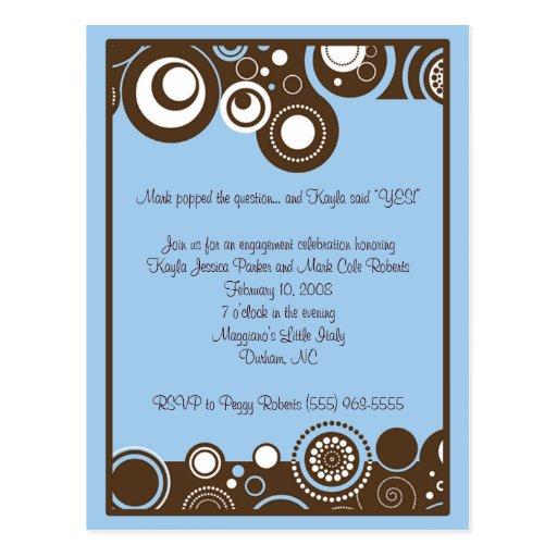 El azul remolina invitación tarjeta postal