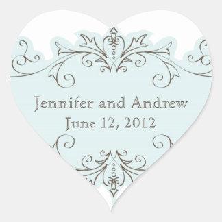 El azul remolina los pegatinas del favor del boda pegatina en forma de corazón