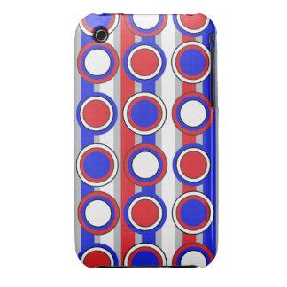 El azul retro, círculo rojo del blanco gris raya e Case-Mate iPhone 3 carcasa