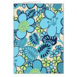 El azul retro florece la tarjeta de felicitación