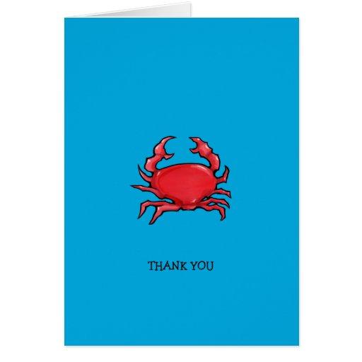 El azul rojo del cangrejo le agradece tarjeta de n
