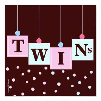 """El azul rosado gemelo bloquea la fiesta de invitación 5.25"""" x 5.25"""""""
