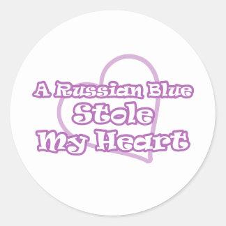 El azul ruso robó mi corazón etiquetas redondas