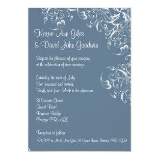 El azul sale de la invitación del boda de la casa