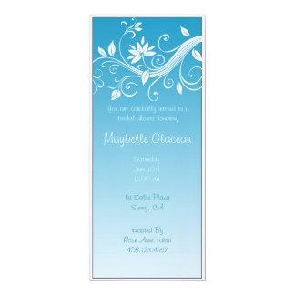"""El azul se descolora ducha nupcial de la flor invitación 4"""" x 9.25"""""""