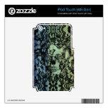 El azul se descolora modelo del cráneo del cordón iPod touch 4G skins