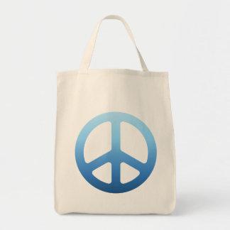 El azul se descolora signo de la paz bolsa tela para la compra