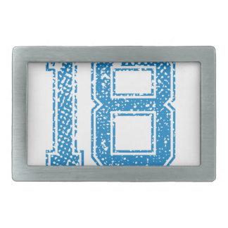 El azul se divierte Jerzee número 18 Hebilla De Cinturón Rectangular