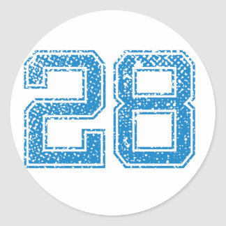 El azul se divierte Jerzee número 28 Pegatina Redonda