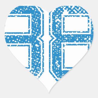 El azul se divierte Jerzee número 38 Pegatina En Forma De Corazón