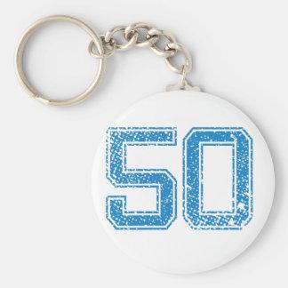 El azul se divierte Jerzee número 50 Llavero Redondo Tipo Pin