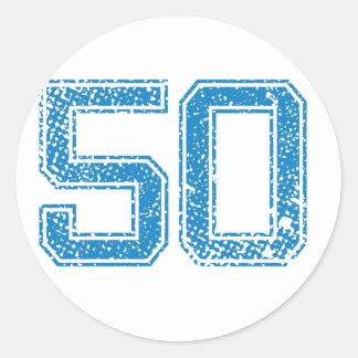 El azul se divierte Jerzee número 50 Pegatina Redonda