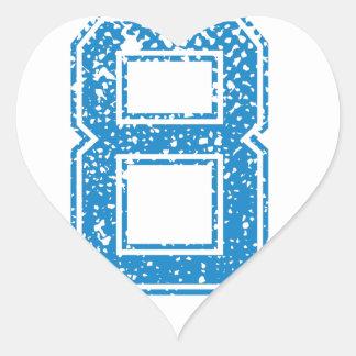 El azul se divierte Jerzee número 8 Pegatina En Forma De Corazón