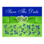 El azul, verde floral, corazones ahorra la postal