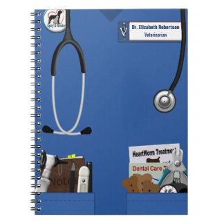 El azul veterinario friega y el diseño de los libretas
