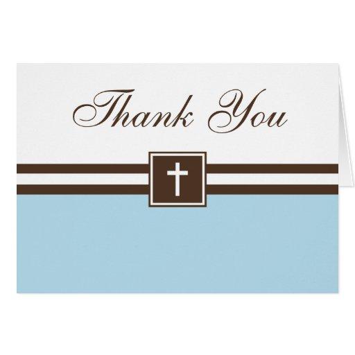 El azul y el bautismo cruzado del muchacho de tarjeta pequeña