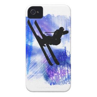 El azul y el blanco salpica al esquiador Case-Mate iPhone 4 fundas