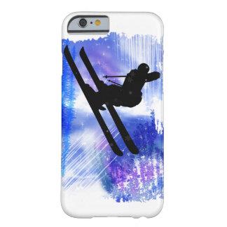 El azul y el blanco salpica al esquiador funda de iPhone 6 barely there