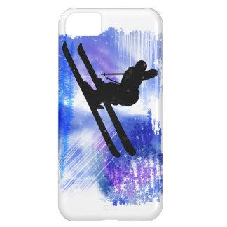 El azul y el blanco salpica al esquiador funda para iPhone 5C