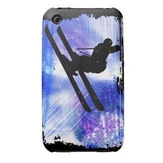 El azul y el blanco salpica al esquiador iPhone 3 Case-Mate cobertura