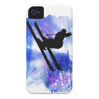 El azul y el blanco salpica al esquiador iPhone 4 protectores