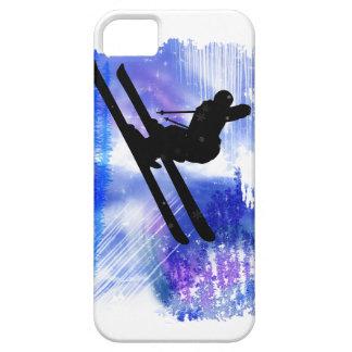 El azul y el blanco salpica al esquiador iPhone 5 carcasa
