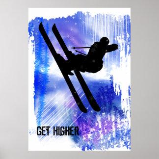 El azul y el blanco salpica póster