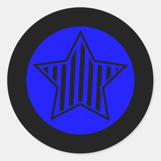 El azul y el negro protagonizan alrededor del pegatina redonda