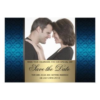 El azul y el oro Damaks ahorran la foto de la fech Invitaciones Personales
