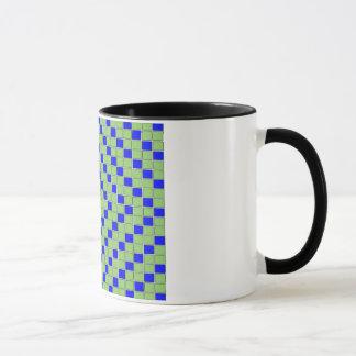 El azul y el verde bloquean/taza cuadrada del