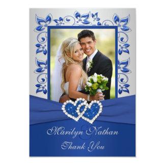 """El azul y la foto unida plata de los corazones le invitación 5"""" x 7"""""""