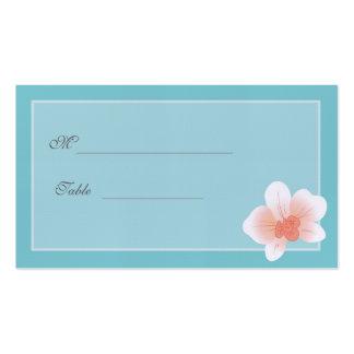 El azul y se ruboriza orquídea rosada Placecard Tarjeta Personal